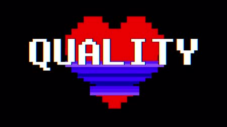 logotipo : pixel heart QUALITY word text glitch interference screen seamless loop animation background new dynamic retro vintage joyful colorful video footage