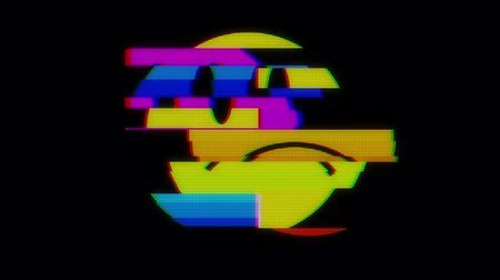 caracteres : sad smile face symbol on digital lcd screen seamless loop glitch interference animation new dynamic retro joyful colorful retro vintage video footage