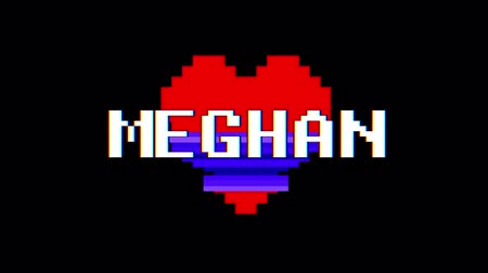 list : pixel heart MEGHAN word text glitch interference screen seamless loop animation background new dynamic retro vintage joyful colorful video footage Wideo