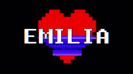 zkreslení : pixel heart EMILIA word text glitch interference screen seamless loop animation background new dynamic retro vintage joyful colorful video footage