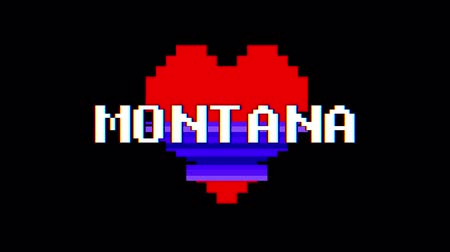 zkreslení : pixel heart MONTANA word text glitch interference screen seamless loop animation background new dynamic retro vintage joyful colorful video footage