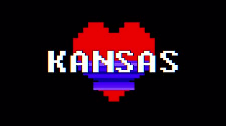 distorcida : pixel heart KANSAS word text glitch interference screen seamless loop animation background new dynamic retro vintage joyful colorful video footage Vídeos