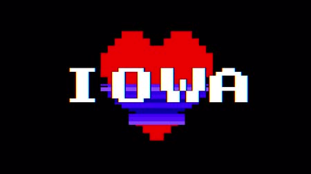 casado : pixel heart IOWA word text glitch interference screen seamless loop animation background new dynamic retro vintage joyful colorful video footage Stock Footage