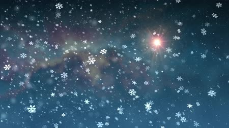 фантастический : christmas star light snow falling animation background New quality universal motion dynamic animated colorful joyful holiday music video footage Стоковые видеозаписи