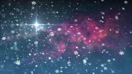 mutlu yeni yıl : christmas star light snow falling animation background New quality universal motion dynamic animated colorful joyful holiday music video footage Stok Video