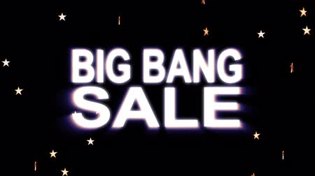 hétfő : Big Bang SALE text stars explosion with shiny light animation on black background new quality cool nice motion joyful addvertisement commercial video footage loop design