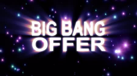 скидка : Big Bang Offer text stars explosion with shiny light animation on black background new quality cool nice motion joyful addvertisement commercial video footage loop design Стоковые видеозаписи