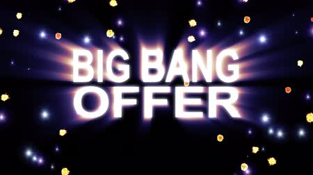 лозунг : Big Bang Offer text stars explosion with shiny light animation on black background new quality cool nice motion joyful addvertisement commercial video footage loop design Стоковые видеозаписи