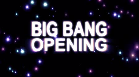 лозунг : Big Bang Opening text stars explosion with shiny light animation on black background new quality cool nice motion joyful addvertisement commercial video footage loop design Стоковые видеозаписи