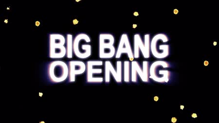 metka : Big Bang Opening text stars explosion with shiny light animation on black background new quality cool nice motion joyful addvertisement commercial video footage loop design Wideo