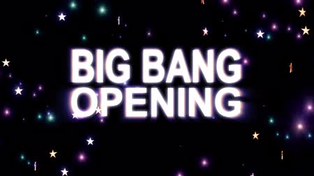 slogan : Big Bang Opening text stars explosion with shiny light animation on black background new quality cool nice motion joyful addvertisement commercial video footage loop design Stock Footage