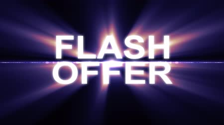 лозунг : Flash offer text in light flash explosion shiny animation loop on black background new quality cool nice motion joyful addvertisement commercial video footage loop design