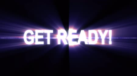 light leaks : get ready text in light flash explosion shiny animation loop on black background new quality cool nice motion joyful advertisement commercial video footage loop design