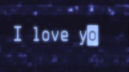 cyberpunk : hand typing i love you words writing on glitch old blue led lcd tube computer display screen close up pixel animation background new quality retro vintage futuristic wording typography video loop