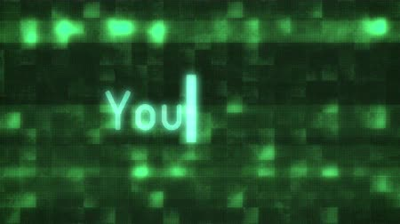 fama : you win words text typing writing on old glitch computer lcd led tube tv screen display background blinking animation New quality universal vintage motion dynamic animated retro colorful joyful video Stock Footage