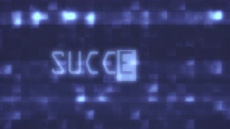 cyberpunk : success words text typing writing on old glitch computer lcd led tube tv screen display background blinking animation New quality universal vintage motion dynamic animated retro colorful joyful video