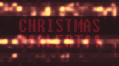 slogan : flashing green christmas alert word text on glitch digital computer lcd led screen loop animation new quality techology colorful joyful vintage dynamic motion video footage