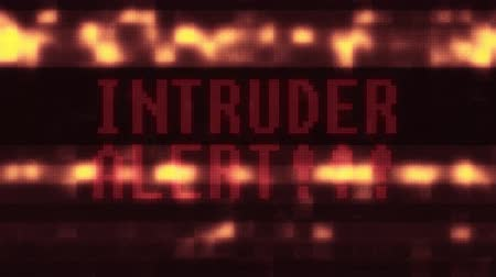 ter cuidado : flashing intruder alert warning word text on glitch digital lcd screen seamless loop animation - new quality techology colorful joyful vintage dynamic motion video footage