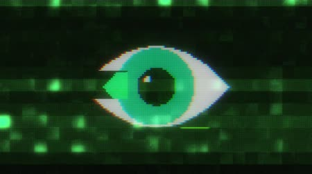 кодирование : pixel eye symbol on glitch lcd led screen display background animation seamless loop New quality universal close up vintage dynamic animated colorful joyful cool video footage