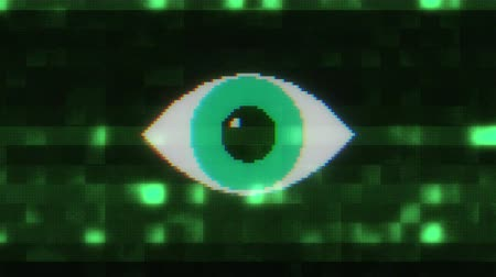 błąd : pixel eye symbol on glitch lcd led screen display background animation seamless loop New quality universal close up vintage dynamic animated colorful joyful cool video footage