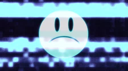 distorsiyon : sad smile face symbol on hud screen seamless loop glitch interference animation new dynamic retro joyful colorful retro vintage video footage Stok Video