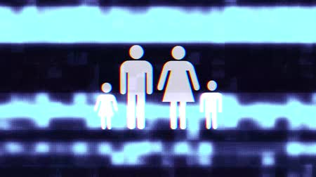 żródło : full family symbol glitch screen distortion holographic display animation seamless loop background - New quality universal close up vintage dynamic animated colorful joyful cool nice video Wideo