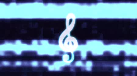 подпись : music treble clef symbol glitch screen distortion holographic display animation seamless loop background New quality universal close up vintage dynamic animated colorful joyful cool nice video