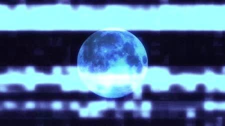 смещение : full moon on jumpy glitch old lcd led tv computer screen display seamless loop animation black stars background - new quality natural colorful joyful video footage