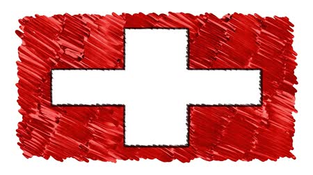 kereskedés : stop motion marker drawn Switzerland flag cartoon animation background new quality national patriotic colorful symbol video footage Stock mozgókép