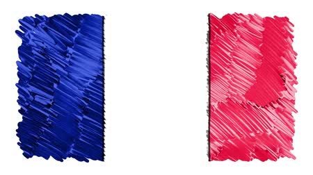 geográfico : stop motion marker drawn France flag cartoon animation background new quality national patriotic colorful symbol video footage Stock Footage