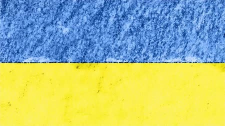 geográfico : stop motion pastel chalk crayon drawn Ukraine flag cartoon animation seamless loop background new quality national patriotic colorful symbol video footage Stock Footage