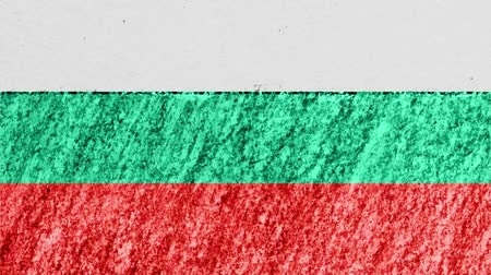geográfico : stop motion pastel chalk crayon drawn Bulgaria flag cartoon animation seamless loop background new quality national patriotic colorful symbol video footage