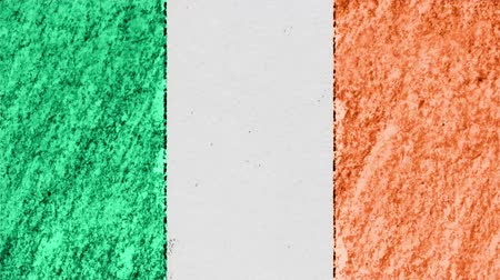 geográfico : stop motion pastel chalk crayon drawn Ireland flag cartoon animation seamless loop background new quality national patriotic colorful symbol video footage Vídeos