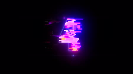 lézer : colorful futuristic laser glitch interference countdown numbers from 5 to 1 new dynamic holiday joyful techno video footage