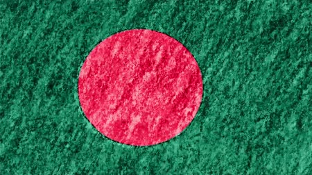 desenhado : stop motion pastel chalk crayon drawn Bangladesh flag cartoon animation seamless loop background new quality national patriotic colorful symbol video footage Vídeos