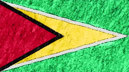 guyana : stop motion pastel chalk crayon drawn Guyana flag cartoon animation seamless loop background new quality national patriotic colorful symbol video footage