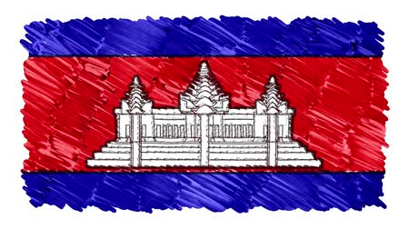 geográfico : stop motion marker drawn CAMBODIA flag cartoon animation background new quality national patriotic colorful symbol video footage Stock Footage