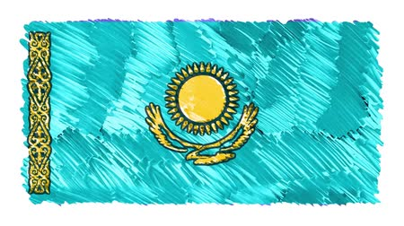 mani disegnate : stop motion marker drawn Kazakhstan flag cartoon animation background new quality national patriotic colorful symbol video footage Filmati Stock