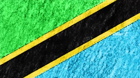geográfico : stop motion pastel chalk crayon drawn Tanzania flag cartoon animation seamless loop background new quality national patriotic colorful symbol video footage