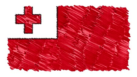 geográfico : stop motion marker drawn Tonga flag cartoon animation background new quality national patriotic colorful symbol video footage Vídeos