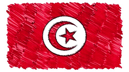 húzott : stop motion marker drawn Tunisia flag cartoon animation background new quality national patriotic colorful symbol video footage Stock mozgókép