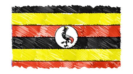independência : stop motion marker drawn UGANDA flag cartoon animation background new quality national patriotic colorful symbol video footage Stock Footage