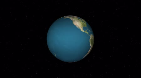 földrajz : simple earth globe planet model rotating in stars space animation background loop New quality universal retro vintage colorful video Stock mozgókép
