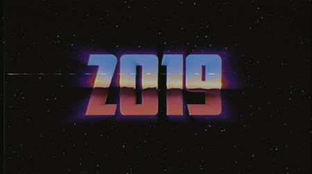 лозунг : shiny retro 80s 90s style 2019 new year text fly in and out in stars space effect animation background loop new unique holiday vintage beautiful dynamic joyful colorful video footage Стоковые видеозаписи