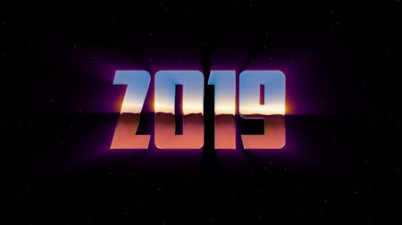 rolety : shiny retro 80s 90s style 2019 new year text fly in and out in stars space animation background loop new unique holiday vintage beautiful dynamic joyful colorful video footage