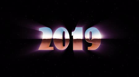 лозунг : shiny retro 80s 90s style 2019 new year text fly in and out in stars space animation background loop new unique holiday vintage beautiful dynamic joyful colorful video footage
