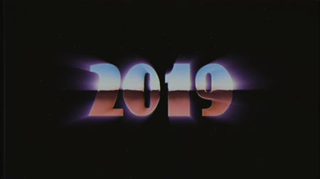opener : shiny retro 80s 90s style 2019 new year text fly in and out in stars space VHS effect animation background loop new unique holiday vintage beautiful dynamic joyful colorful video footage