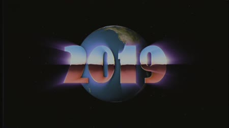 лозунг : shiny retro 80s 90s style 2019 new year text fly in and out in stars space and earth globe effect animation background loop new unique holiday vintage beautiful dynamic joyful colorful stock video