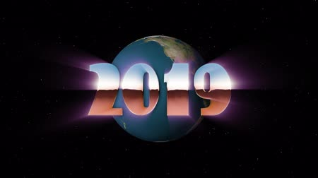 rolety : shiny retro 80s 90s style 2019 new year text fly in and out in stars space and earth globe animation background loop new unique holiday vintage beautiful dynamic joyful colorful stock video