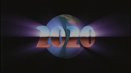 rolety : shiny retro 80s 90s style 2020 new year text fly in and out in stars space and earth globe effect animation background loop new unique holiday vintage beautiful dynamic joyful colorful stock video